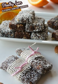 Healthy bars w orange and cacao and dates
